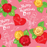 Valentines Day seamless pattern with hand drawn an Royalty Free Stock Photos