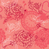 Valentines Day seamless pattern with hand drawn Cu Royalty Free Stock Images