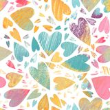 Valentines day seamless pattern. Hand drawn hearts background stock images