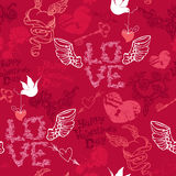 Valentines Day seamless pattern with hand drawn he Stock Photos
