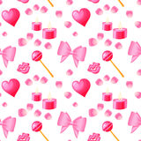 Valentines day seamless pattern. Heart bows petals candles candy seamless pattern Stock Image