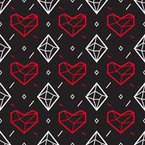 Valentines Day Seamless pattern with heart and diamond. Geometric style Royalty Free Stock Photography