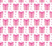 Valentines Day seamless pattern. Heart and gifts endless background. Romance, love repeating texture. Holiday wallpaper Stock Photos
