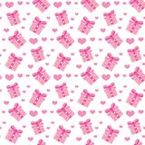 Valentines Day seamless pattern. Heart and gifts endless background. Romance, love repeating texture. Holiday wallpaper Stock Photography