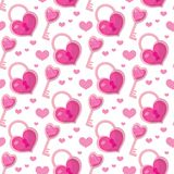 Valentines Day seamless pattern. Heart key and lock endless background. Romance, love repeating texture. Holiday Stock Photos