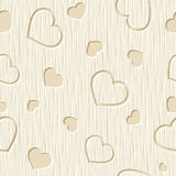 Valentines day seamless pattern with hearts carved on a wooden background. Vector illustration. Stock Photos