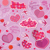 Valentines Day seamless pattern with hearts, cloud Stock Photography