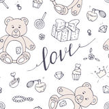 Valentines day seamless pattern with LOVE hand drawn sign Royalty Free Stock Photos