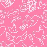 Valentines day seamless pattern. Love, romance flat line icons - hearts, chocolate, kiss, Cupid, doves, valentine card. Pink wallpaper for february 14 Stock Images