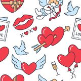 Valentines day seamless pattern. Love, romance flat line icons - hearts, chocolate, kiss, Cupid, doves, valentine card. Red white blue wallpaper for february Royalty Free Stock Photo