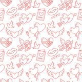 Valentines day seamless pattern. Love, romance flat line icons - hearts, chocolate, kiss, Cupid, doves, valentine card. Red white wallpaper for february 14 stock illustration