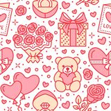 Valentines day seamless pattern. Love, romance flat line icons - hearts, chocolate, teddy bear, engagement ring. Balloons, valentine card, red rose. Pink Royalty Free Stock Photos