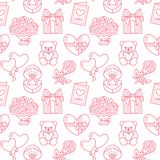 Valentines day seamless pattern. Love, romance flat line icons - hearts, chocolate, teddy bear, engagement ring. Balloons, valentine card, red rose. Pink Stock Photography