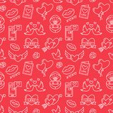 Valentines day seamless pattern. Love, romance flat line icons - hearts, engagement ring, kiss, balloons, doves. Valentine card. Red, white wallpaper for Royalty Free Stock Images