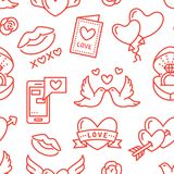 Valentines day seamless pattern. Love, romance flat line icons - hearts, engagement ring, kiss, balloons, doves. Valentine card. Red, white wallpaper for Royalty Free Stock Photography