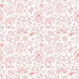 Valentines day seamless pattern. Love, romance flat line icons - hearts, engagement ring, kiss, balloons, doves. Valentine card. Red white colored wallpaper royalty free illustration