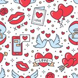 Valentines day seamless pattern. Love, romance flat line icons - hearts, engagement ring, kiss, balloons, doves. Valentine card. Red, whiten blue colored vector illustration