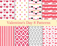 Valentines Day seamless pattern set. Hearts endless background, texture. Collection of paper. the vector illustration. Stock Photo