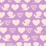 Valentines day seamless pattern. Silhouette of Cupid.  Stock Photo