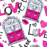 Valentines Day seamless pattern. Watercolor windows frame, love words, hearts, lips. Royalty Free Stock Photos
