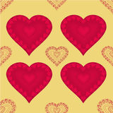 Valentines day seamless texture  heart with hearts  gold background vector Stock Images