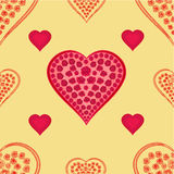 Valentines day seamless texture  hearts with roses gold background vector Stock Photography