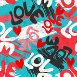Valentines Day seamless vector pattern graffiti Stock Image