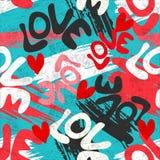 Valentines Day seamless vector pattern graffiti Stock Image