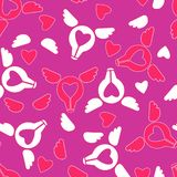 Funny flying light bulbs with wings and hearts,. Seamless vector pattern. stock illustration