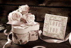 Valentines day in sepia Royalty Free Stock Images
