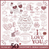 Valentines Day set. Calligraphic design elements Royalty Free Stock Images