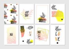 Valentines day set - emblems and cards. Vector illustration. stock illustration