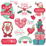 Valentines day set.Emblems,hearts,Labels. Valentines day,romantic elements collection.Labels,ribbon,hearts,calligraphic headline,cute Doodle hand drawing decor Stock Photos