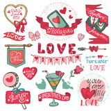 Valentines day set.Emblems,Labels ,decorative. Valentines day,romantic elements collection.Labels,ribbon,hearts,calligraphic headline,cute Doodle hand drawing Royalty Free Stock Images