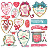 Valentines day set.Emblems,Labels,frames. Valentines day,romantic elements collection.Labels,ribbon,frames,calligraphic headline,cute Doodle hand drawing decor Royalty Free Stock Photos