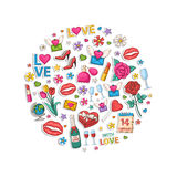 Valentines Day set  in the form of a circle. Royalty Free Stock Images