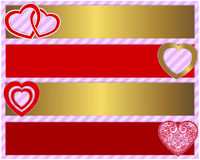 Valentines day set of four banners Stock Photos