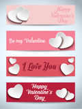 Valentines Day Set of Four Web Banners vector illustration