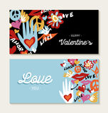Valentines day set with hand drawn peace elements Royalty Free Stock Photography