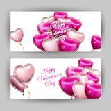 Valentines day set of horizontal banners with 3d heart-shaped balloons . Vector template.  Royalty Free Stock Images