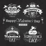 Valentines day set - labels, emblems and decorative elements on blackboard Stock Images