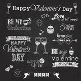 Valentines day set - labels, emblems and decorative elements on blackboard Stock Image