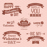 Valentines day set - labels, emblems and decorative elements Royalty Free Stock Images