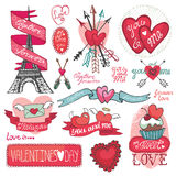 Valentines day set.Labels, emblems ,decorative. Valentines day,romantic elements collection.Labels,Eiffel tower,headline.Cute Doodle hand drawing decor set Stock Image