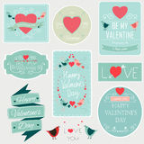 Valentines day set - labels, emblems and other decorative elements. Vector. Valentines day set - labels, emblems and other decorative elements Royalty Free Stock Photography