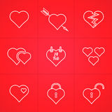 Valentines day set of outline icons. Valentines day set of abstract outline hearts icons Stock Photography