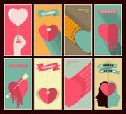 Valentines Day set of retro posters Stock Photo