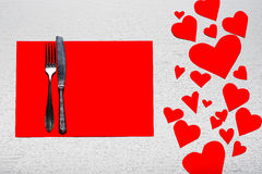 Valentines day set with silverware. The concept of Valentine Day. Wooden white background with red hearts. The concept of Valentine Day Stock Images