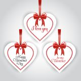 Valentines Day Set Of Sticker Hanging On Red Ribbon On White Background Isolated Stock Photos