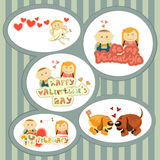 Valentines Day, set of stickers Royalty Free Stock Image